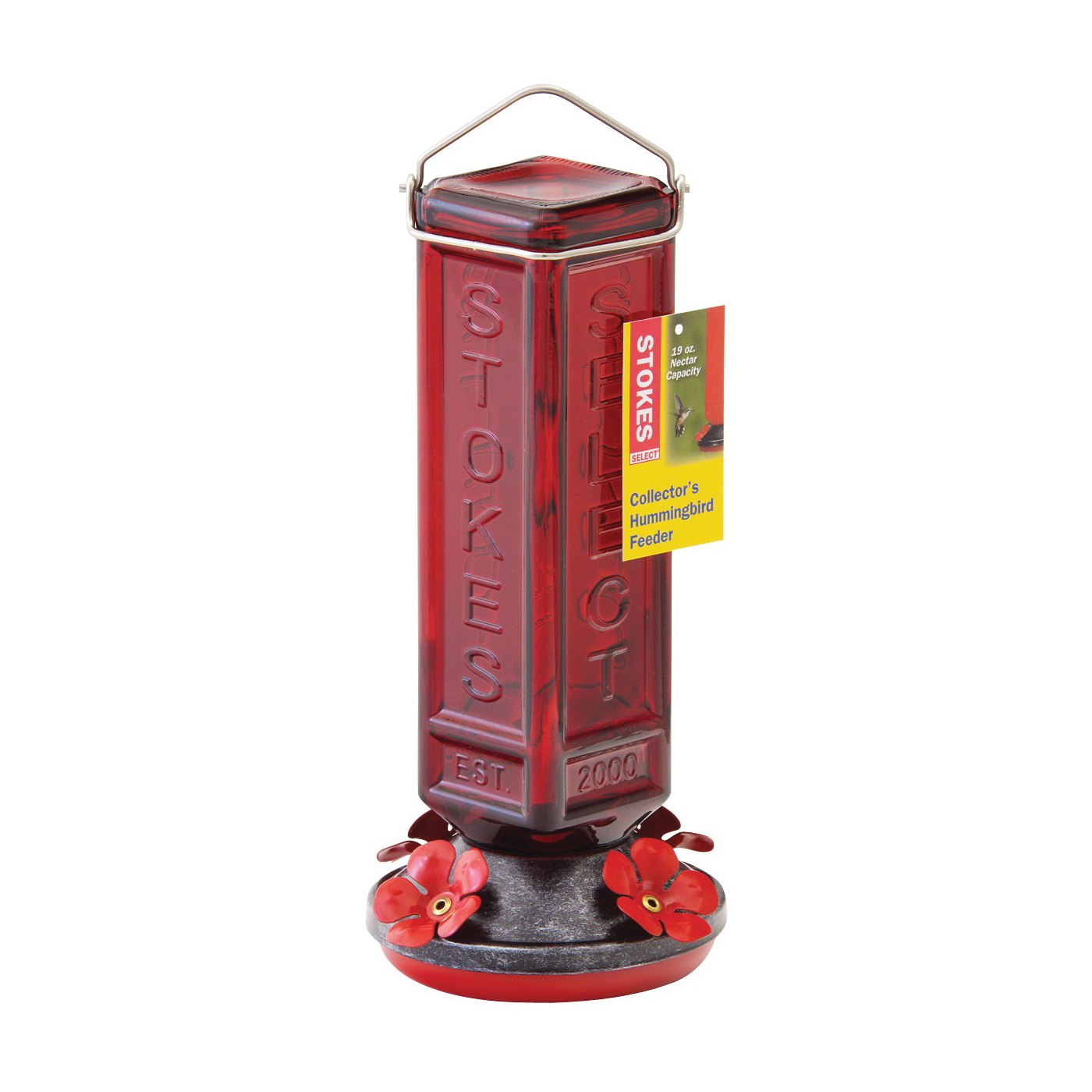 Picture of Stokes Select 38261 Hummingbird Feeder, 19 oz, 4-Port/Perch, Glass, Red, 10.6 in H