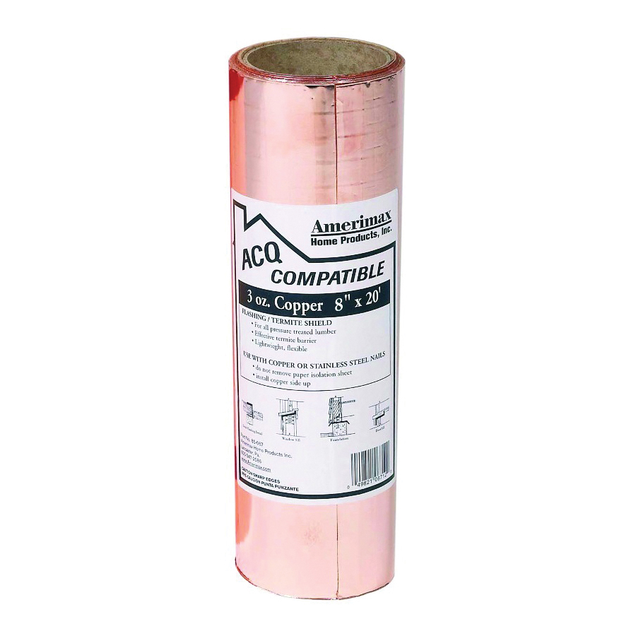 Picture of Amerimax 850678 Copper Flashing Roll, 20 ft OAL, 8 in OAW, Copper