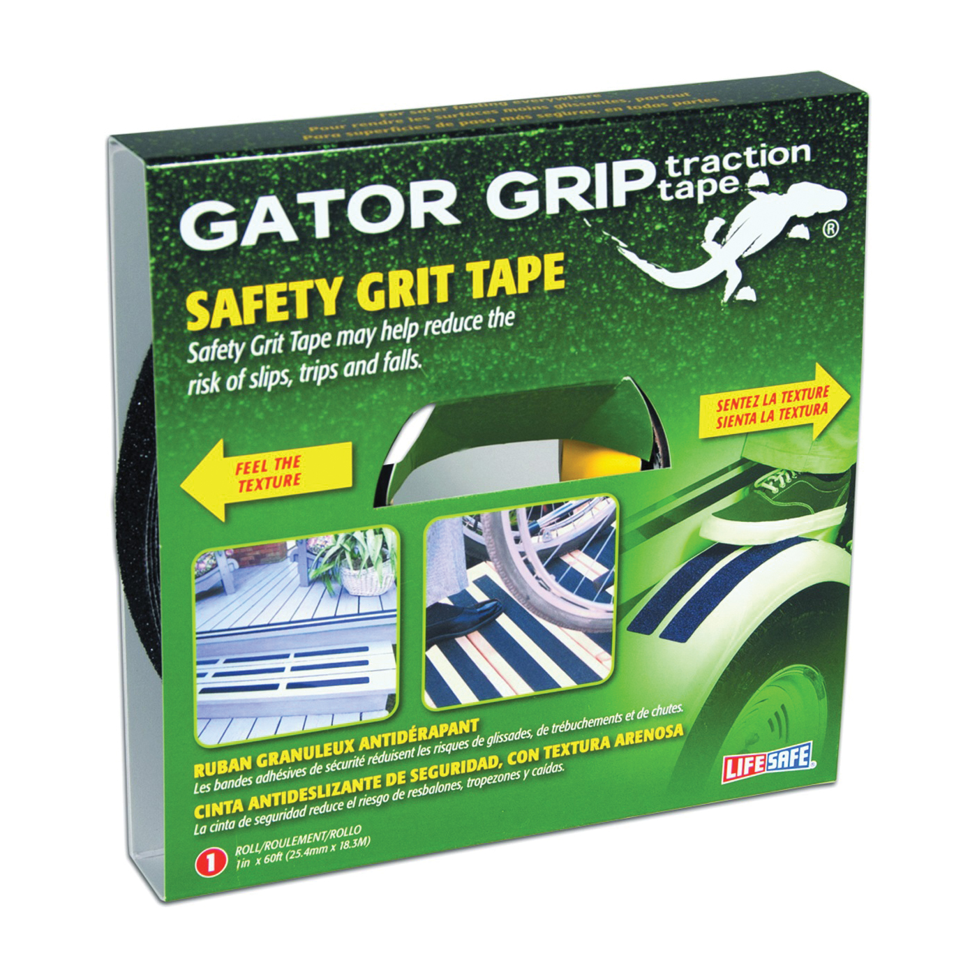 Picture of INCOM Gator Grip RE141 Traction Tape, 60 ft L, 1 in W, PVC Backing, Black