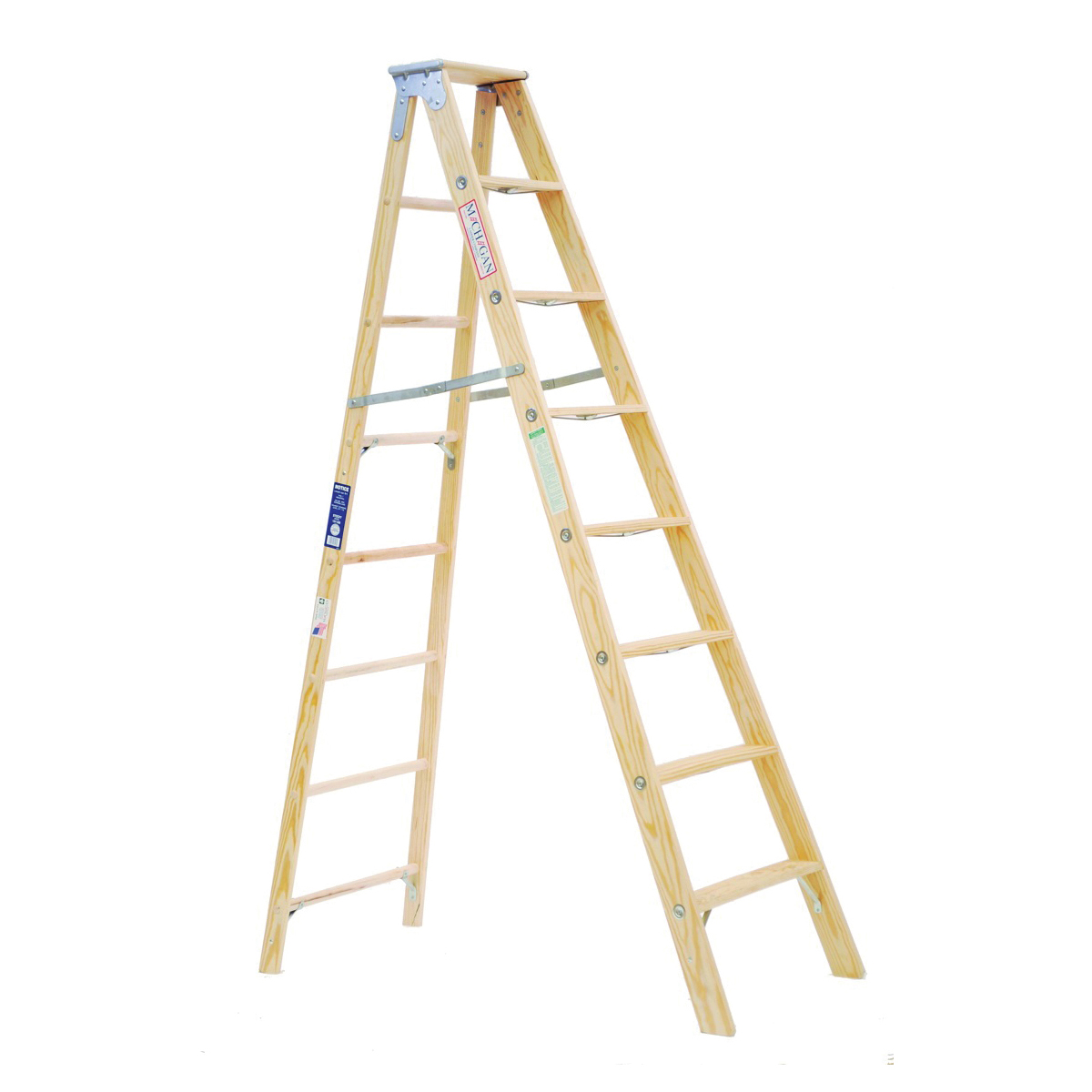 Picture of MICHIGAN LADDER 1311-08 Step Ladder, 250 lb, Type I Duty Rating, Wood, Silk
