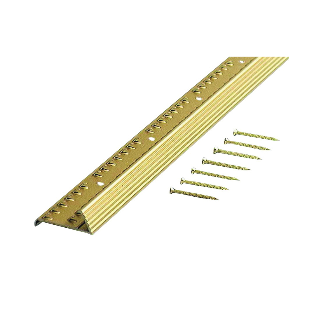 Picture of M-D 79053 Fluted Carpet Gripper, 36 in L, 1-3/8 in W, Aluminum, Satin Brass
