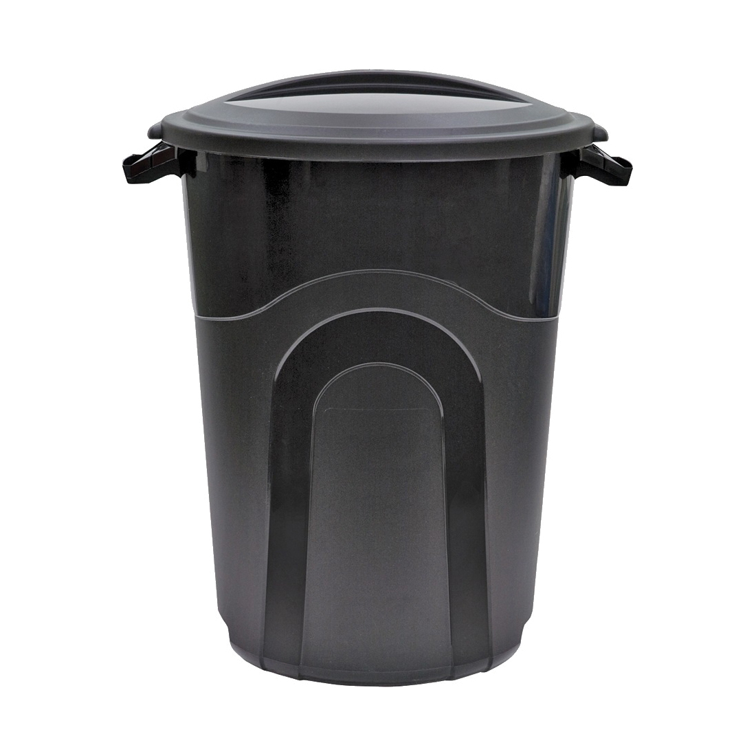 Picture of United Solutions TI0019 Trash Can, 32 gal Capacity, Plastic, Black, Snap-On Lid Closure