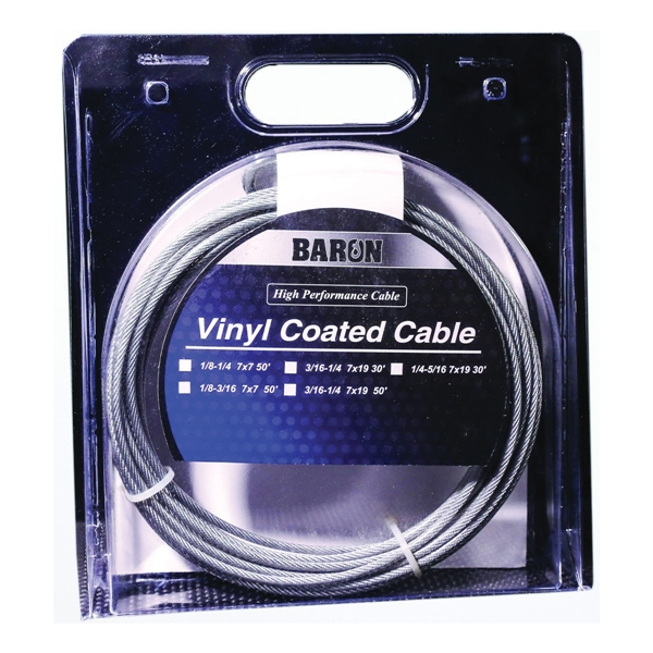 Picture of BARON 50201/50210 Aircraft Cable, 1/8 to 3/16 in Dia, 50 ft L, 340 lb Working Load, Galvanized Steel