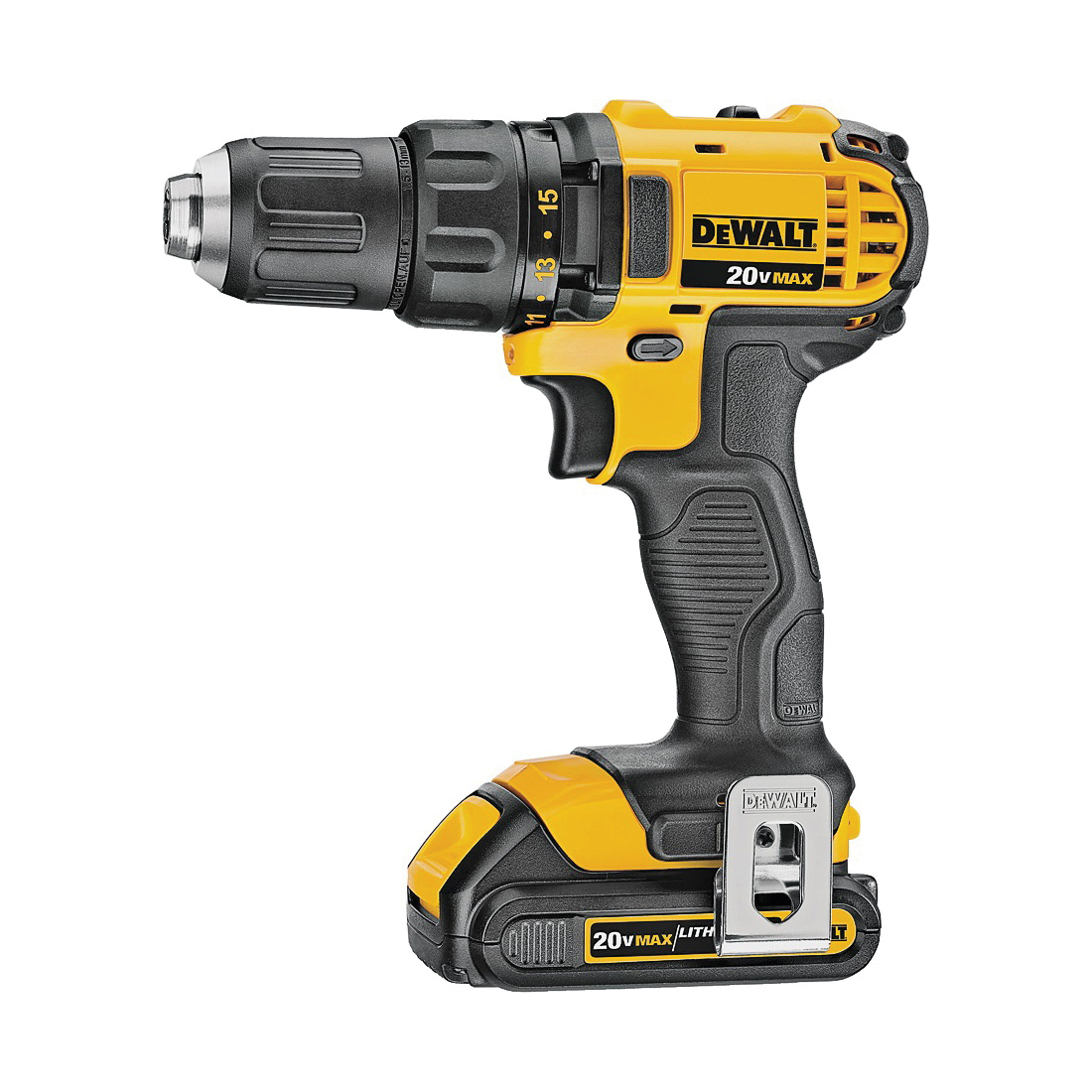 Picture of DeWALT DCD780C2 Drill/Driver Kit, Kit, 20 V Battery, 1/2 in Chuck, Keyless, Ratcheting Chuck, Battery Included: Yes