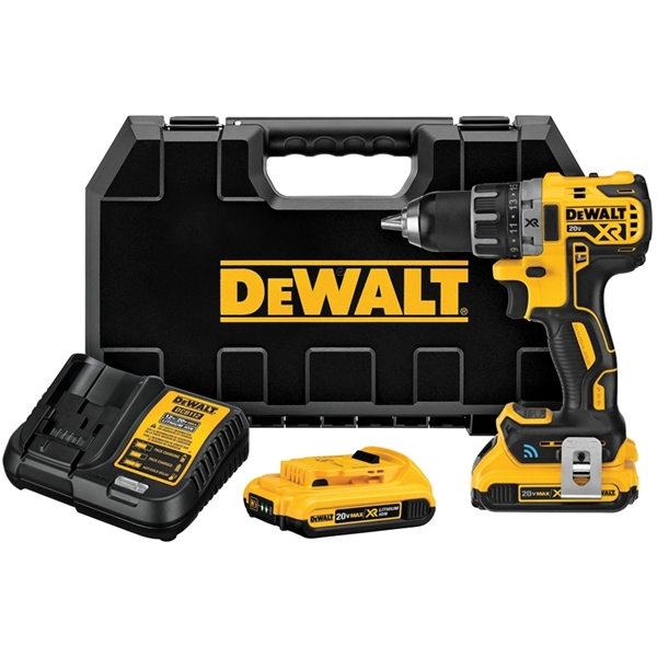 Picture of DeWALT Tool Connect DCD797D2 Compact Hammer Drill Kit, Kit, 20 V Battery, 2 Ah, 1/2 in Chuck, Keyless Chuck