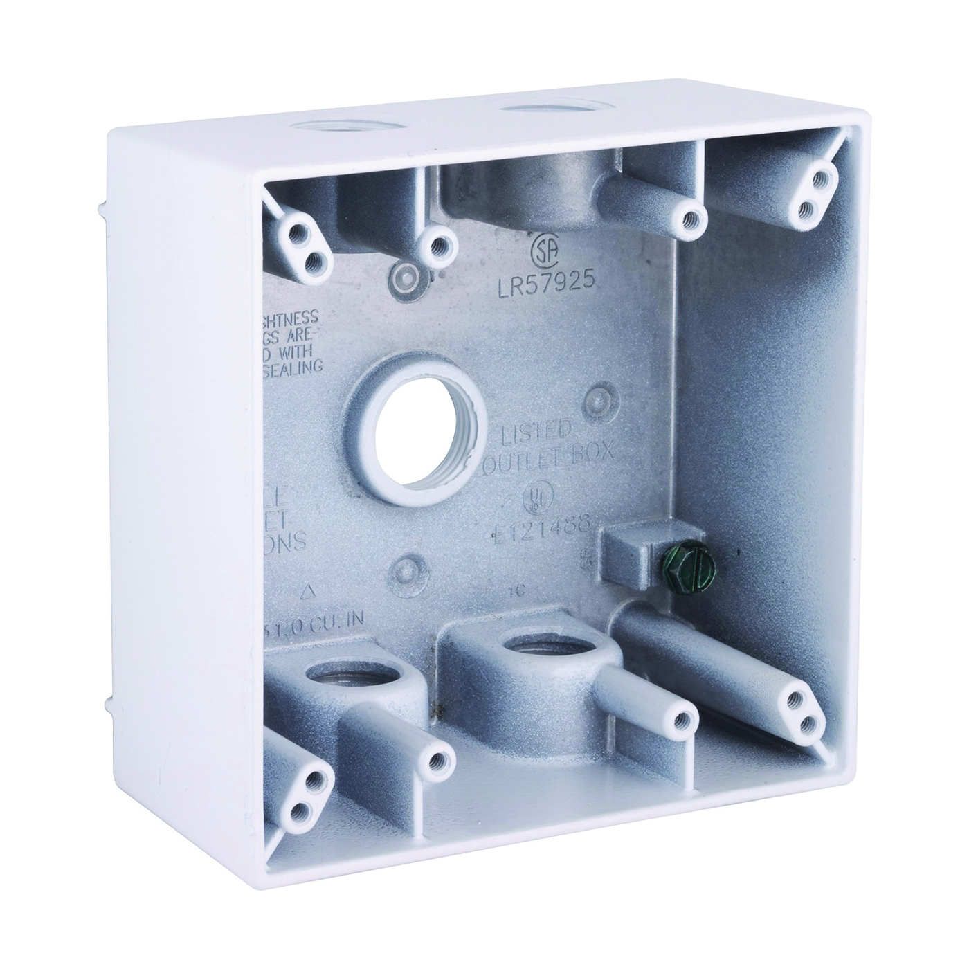Picture of HUBBELL 5337-1 Box, 5-Outlet, 2-Gang, Aluminum, White, Powder-Coated