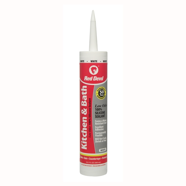 Picture of Red Devil 0836 Silicone Sealant, White, 24 hr Curing, -60 to 400 deg F, 10.1 oz Package, Cartridge