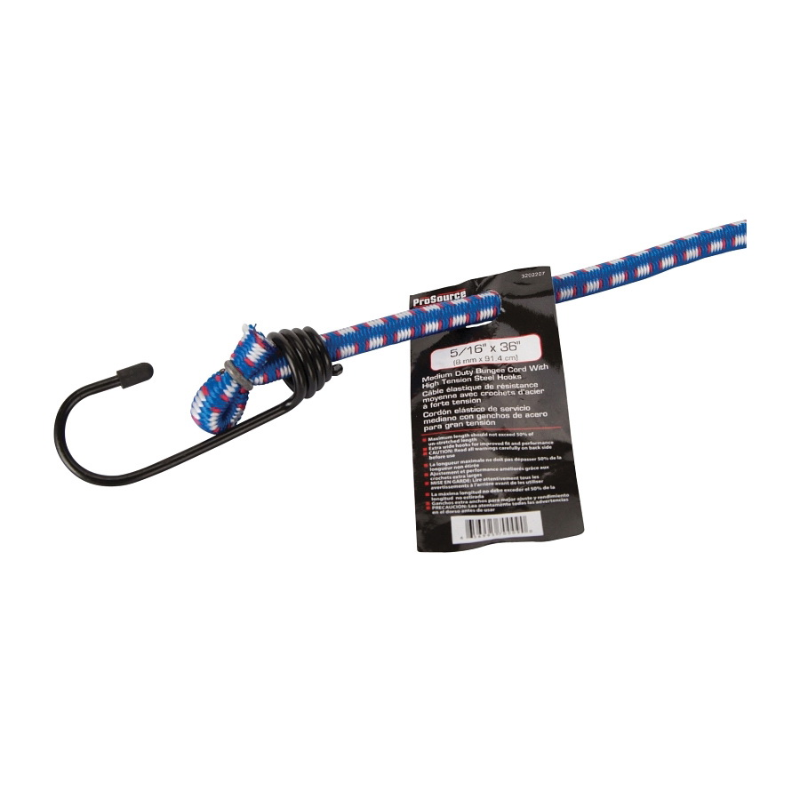 Picture of ProSource FH64019 Bungee Stretch Cord, 8 mm Dia, 36 in L, Polypropylene, Blue, Hook End