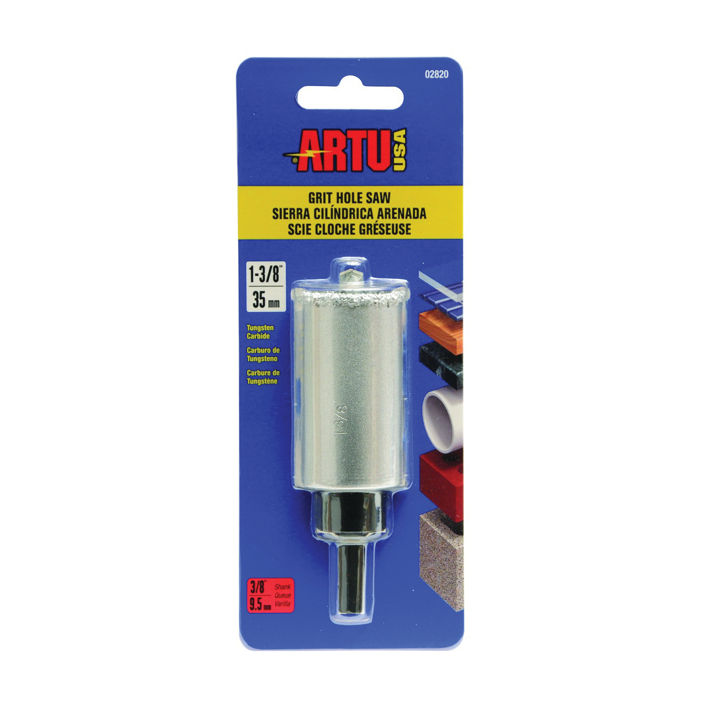 Picture of ARTU 02820 Hole Saw, 1-3/8 in Dia, 2-1/4 in D Cutting, 5/8-18 Arbor, Tungsten Carbide Cutting Edge