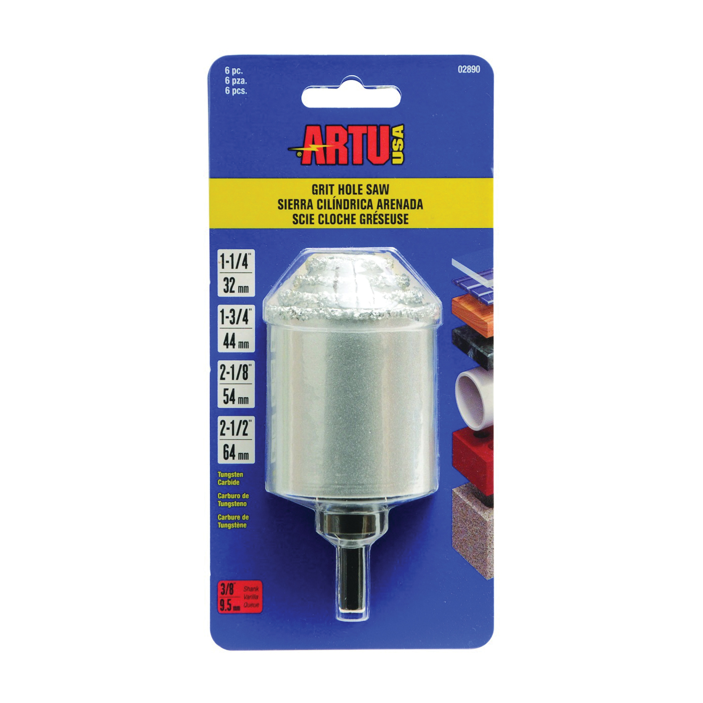 Picture of ARTU 02890 Hole Saw Kit, 6 -Piece, Tungsten Carbide