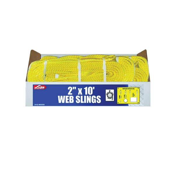 Picture of S-Line 20-EE2-9802X10 Lifting Sling, 2 in W, 10 ft L, 2-Ply, 6200 lb Vertical Hitch, Polyester, Gray
