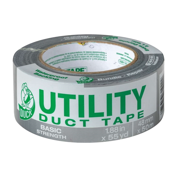 Picture of Duck 1118393 Duct Tape, 55 yd L, 1.88 in W, Silver, 1, Pack