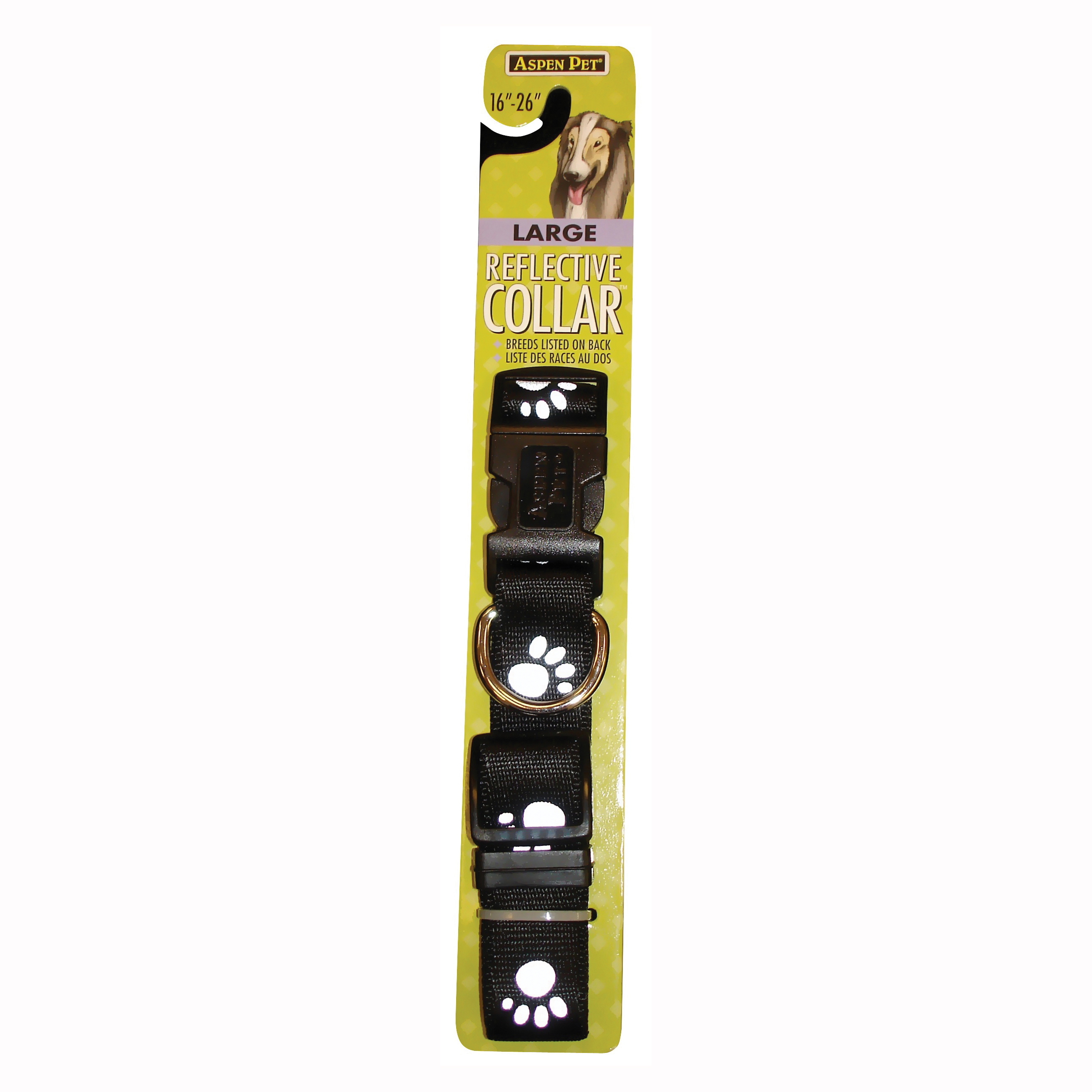 Picture of Aspenpet 27880 Adjustable Pet Collar, L Neck, 16 to 26 in L Collar, 1 in W Collar, Nylon, Black
