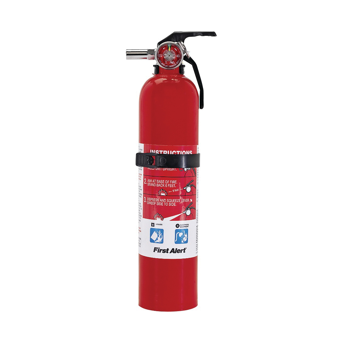 Picture of FIRST ALERT GARAGE1 Rechargeable Fire Extinguisher, 2.5 lb Capacity, Sodium Bicarbonate, 10-B:C Class