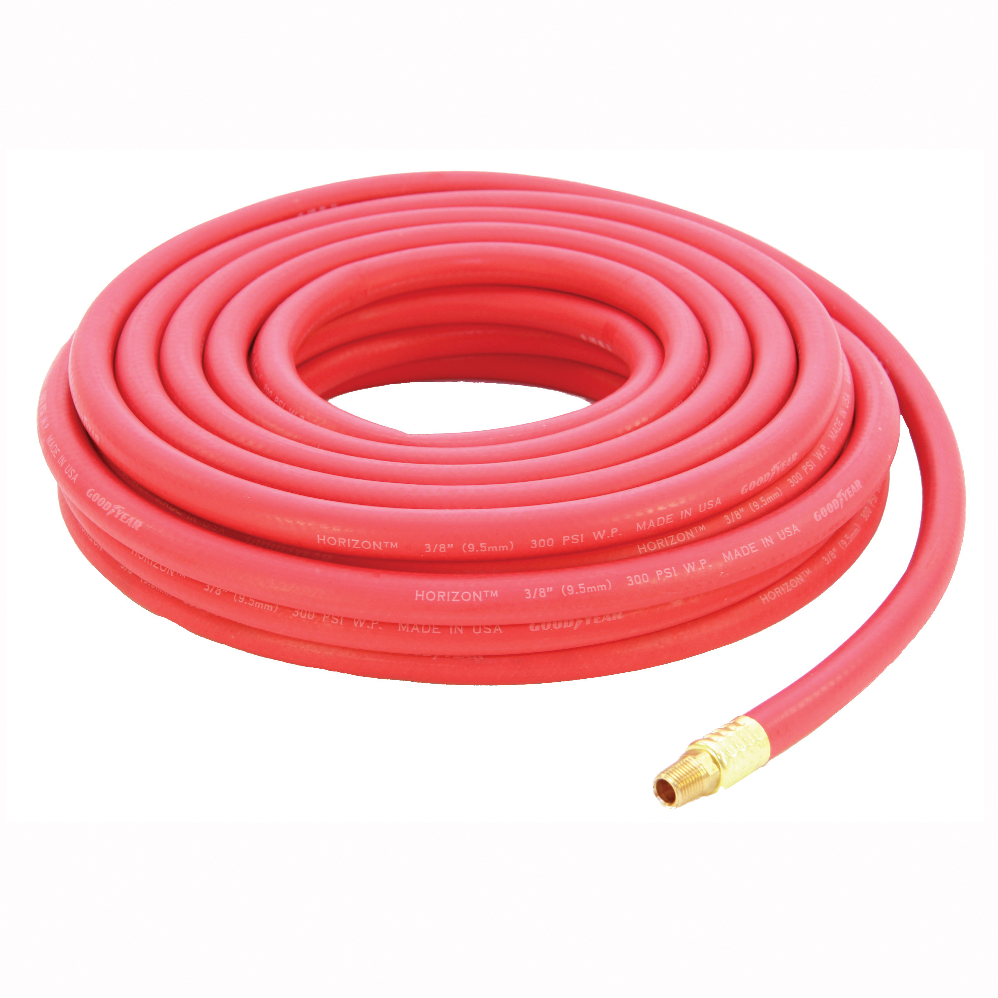 Picture of ABBOTT RUBBER 1010-03825-50-4MM Air Hose, 3/8 in ID, 50 ft L, MNPT, 250 psi Pressure, EPDM Rubber, Red