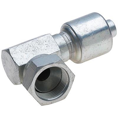 Picture of GATES MegaCrimp G25174-0808 Hose Coupling, 3/4-16, Barb x JIC, 45 deg Angle, Steel, Zinc