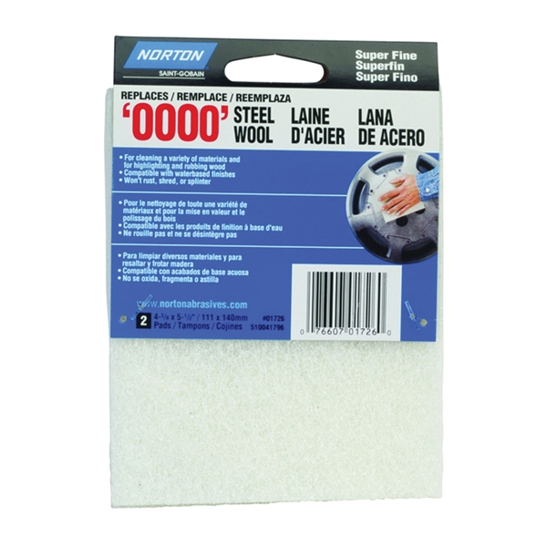 Picture of NORTON 01726 Steel Wool Pad, 4-3/8 in L, 5-1/2 in W, #0000 Grit, Super Fine, White
