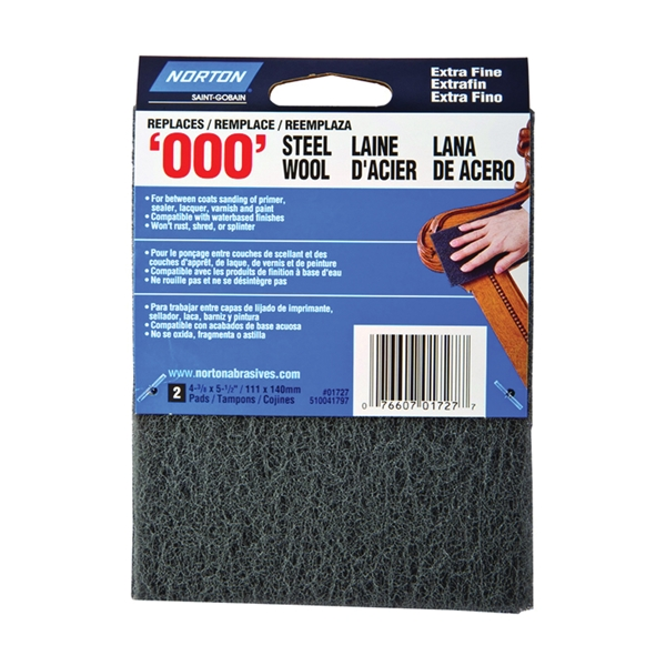 Picture of NORTON 01727 Steel Wool Pad, 4-3/8 in L, 5-1/2 in W, #000 Grit, Extra Fine, Gray