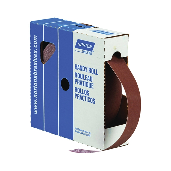 Picture of NORTON Metalite 26286 Utility Cloth Roll, 50 yd L, 1-1/2 in W, 120 Grit, Aluminum Oxide Abrasive, Cloth Backing