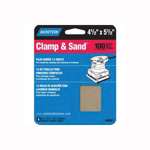 Picture of NORTON 48301 Multi-Stand Sheet, 4-1/2 in W, 5-1/2 in L, 100 Grit, Medium, Aluminum Oxide Abrasive, Paper Backing