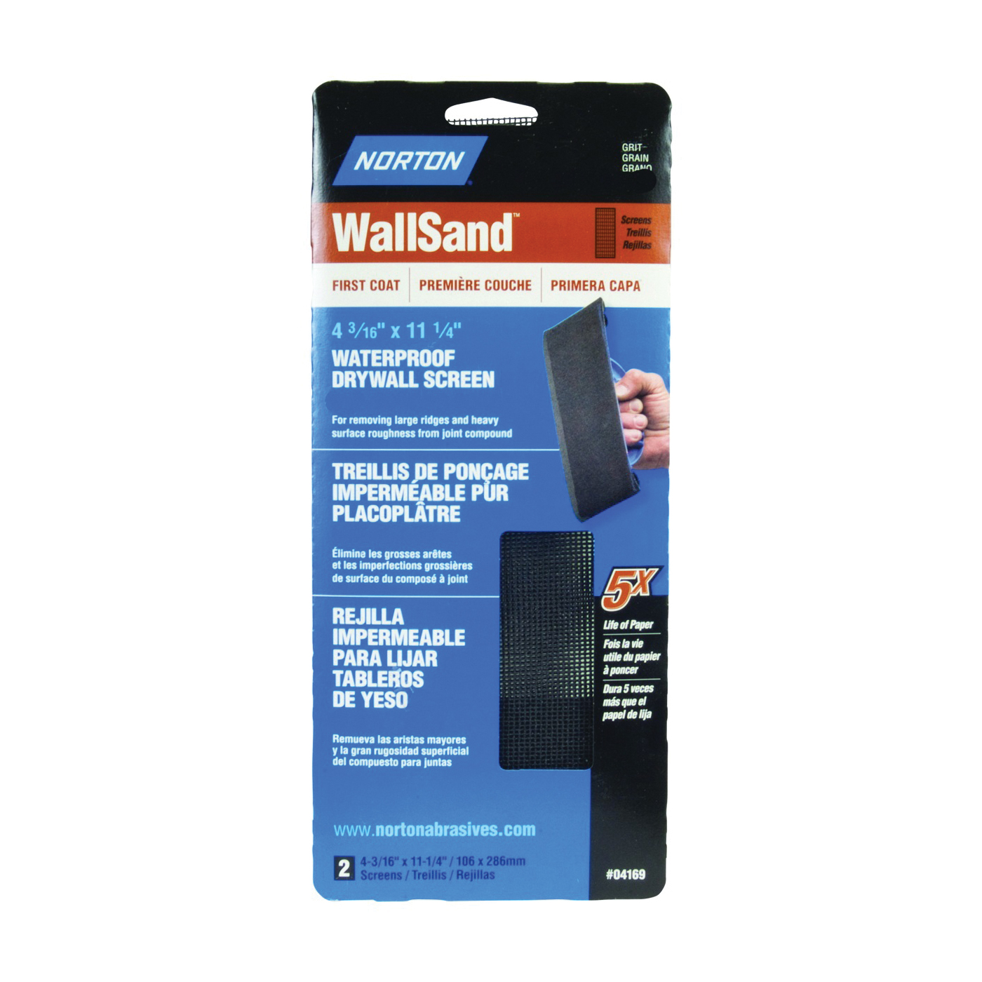 Picture of NORTON 04169 Sanding Screen Paper, 11-1/4 in L, 4-3/16 in W, 120 Grit