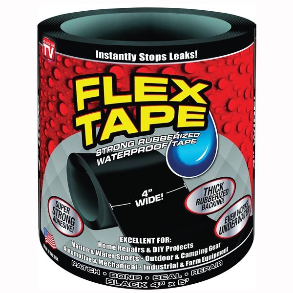 Picture of FLEX TAPE TFSBLKR0405 Waterproof Tape, 5 ft L, 4 in W, Rubber Backing