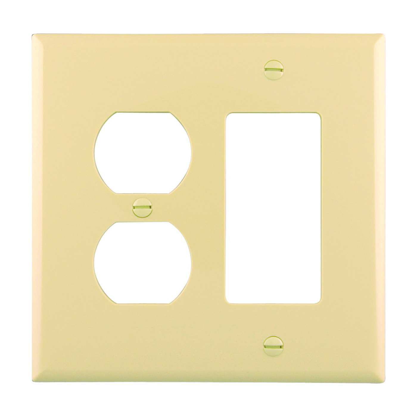 Picture of Eaton Wiring Devices PJ826V Wallplate, 4-7/8 in L, 4-15/16 in W, 2-Gang, Polycarbonate, Ivory, High-Gloss