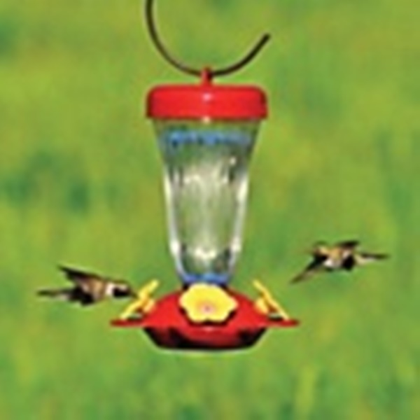 Picture of Perky-Pet 136TF Hummingbird Feeder, Yellow Flower Top-Fill, 16 oz, Nectar, 4-Port/Perch, Plastic, Red, 8.9 in H