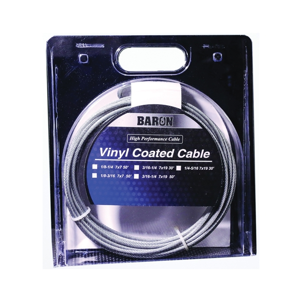 Picture of BARON 54205/50245 Aircraft Cable, 1/4 to 5/16 in Dia, 30 ft L, 1220 lb Working Load, Galvanized Steel