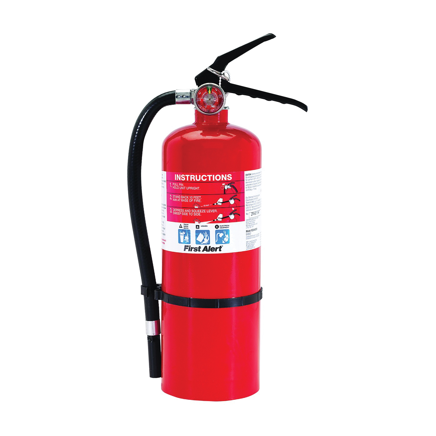 Picture of FIRST ALERT PRO5 Fire Extinguisher, 5 lb Capacity, Monoammonium Phosphate, 3-A:40-B:C Class, Wall Mounting