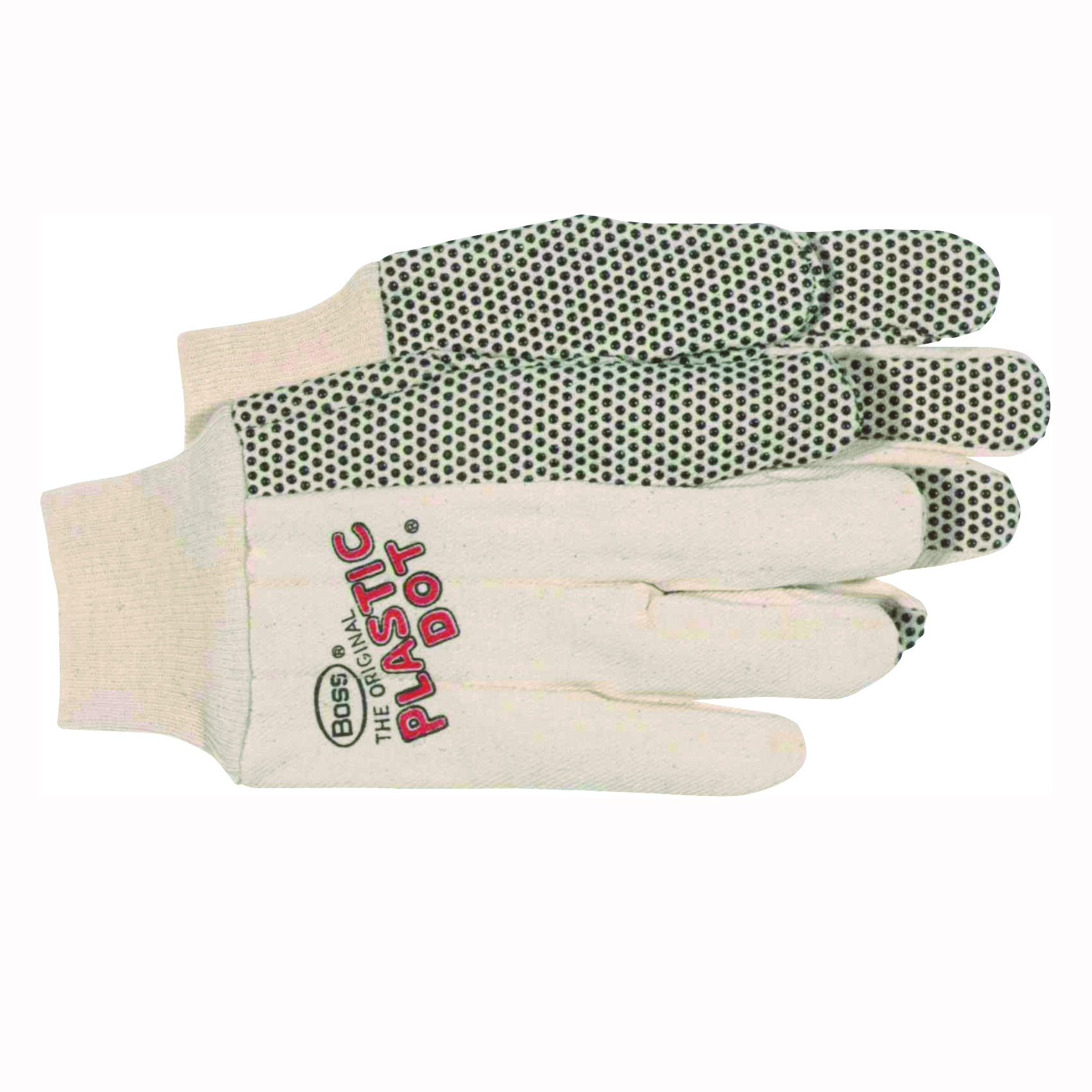Picture of BOSS 5501 General-Purpose Protective Gloves, Men's, L, Straight Thumb, Knit Wrist Cuff, Cotton, Black/White