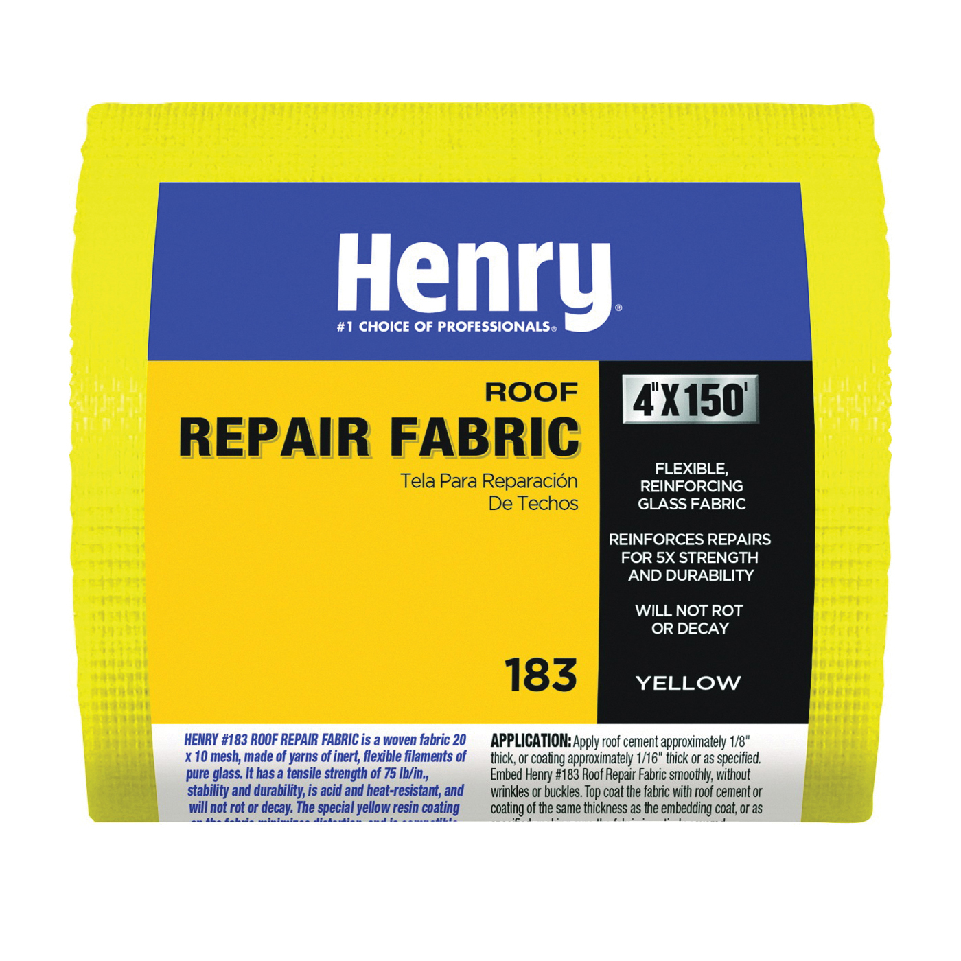 Picture of Henry 183 Series HE183195 Roof Repair Fabric, 150 ft L, 4 in W, Fiberglass, Yellow