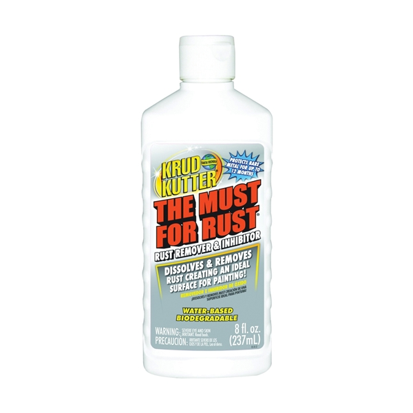 Picture of KRUD KUTTER The Must for Rust MR086 Rust Remover and Inhibitor, Liquid, Mild, Light Green, 8 oz, Flip-Top Bottle
