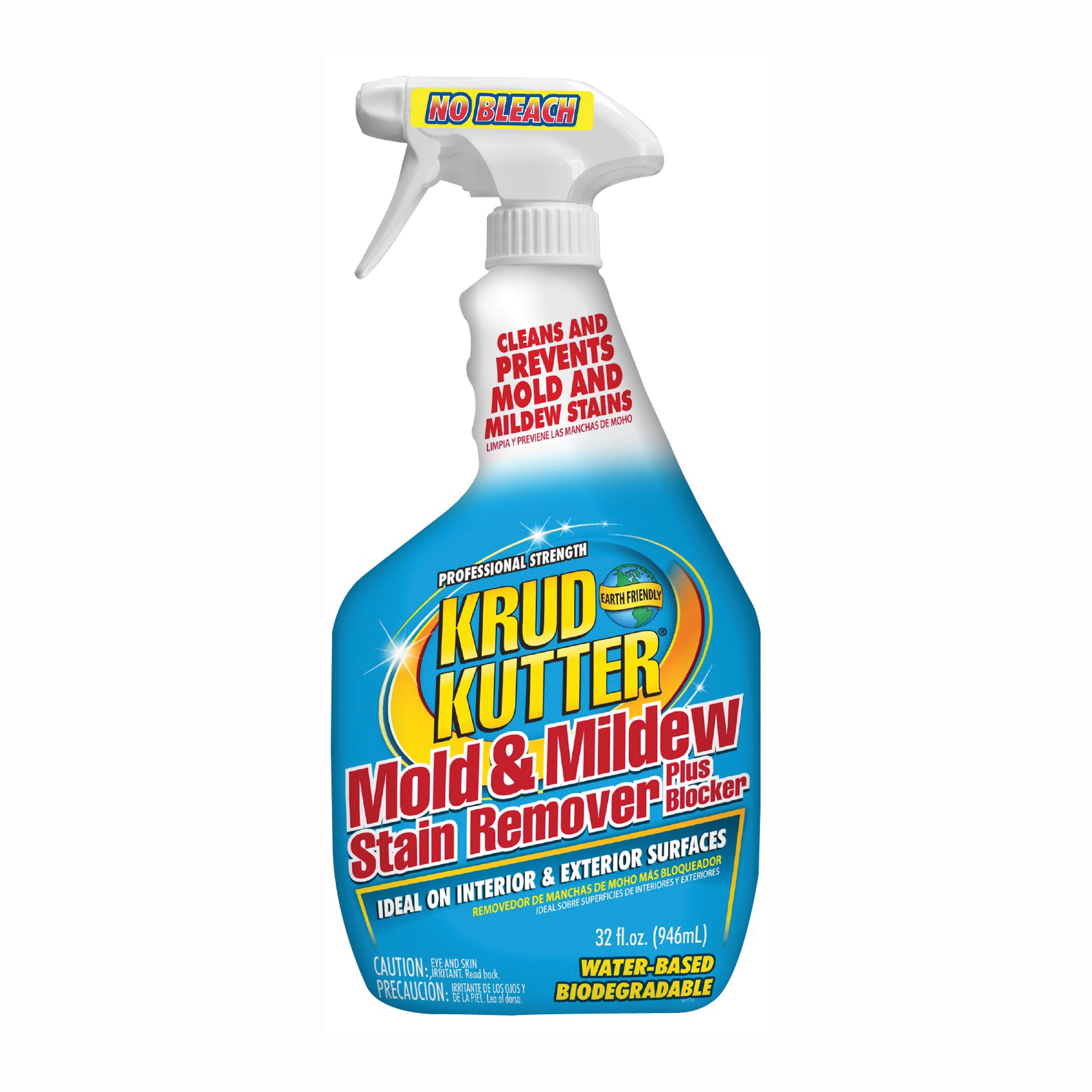 Picture of KRUD KUTTER MS324 Mold and Mildew Stain Remover Plus Blocker, 32 oz Package, Bottle, Liquid, Floral, Light Yellow