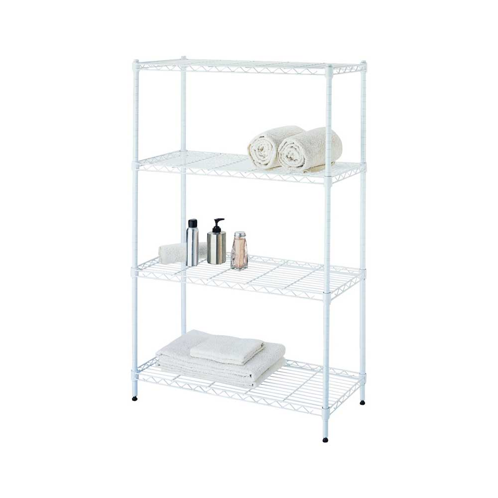 Picture of Simple Spaces SS-JR0404-WH 4-Tier Shelf Stacker, Each Shelf: 132 lb, 4-Tier Shelving-Level, 31 in W, Steel, White