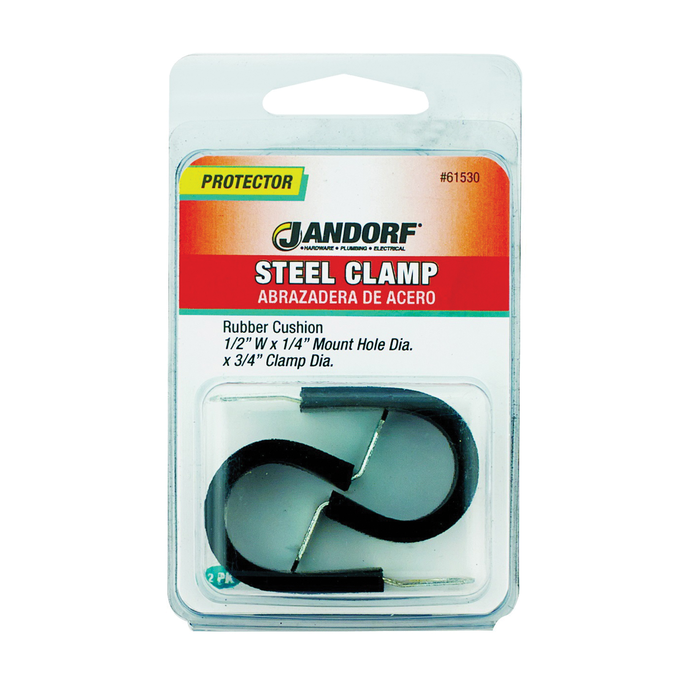 Picture of Jandorf 61530 Cushion Clamp, Rubber/Steel, Black