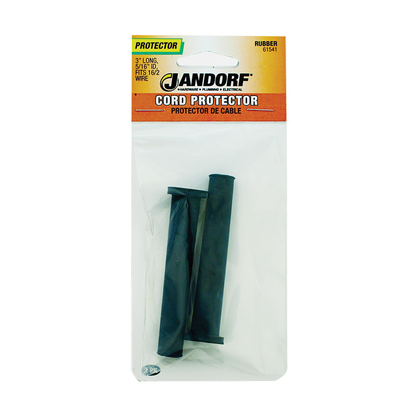 Picture of Jandorf 61541 Cord Protector, 5/16 in ID Dia, 3 in L, Rubber, Black