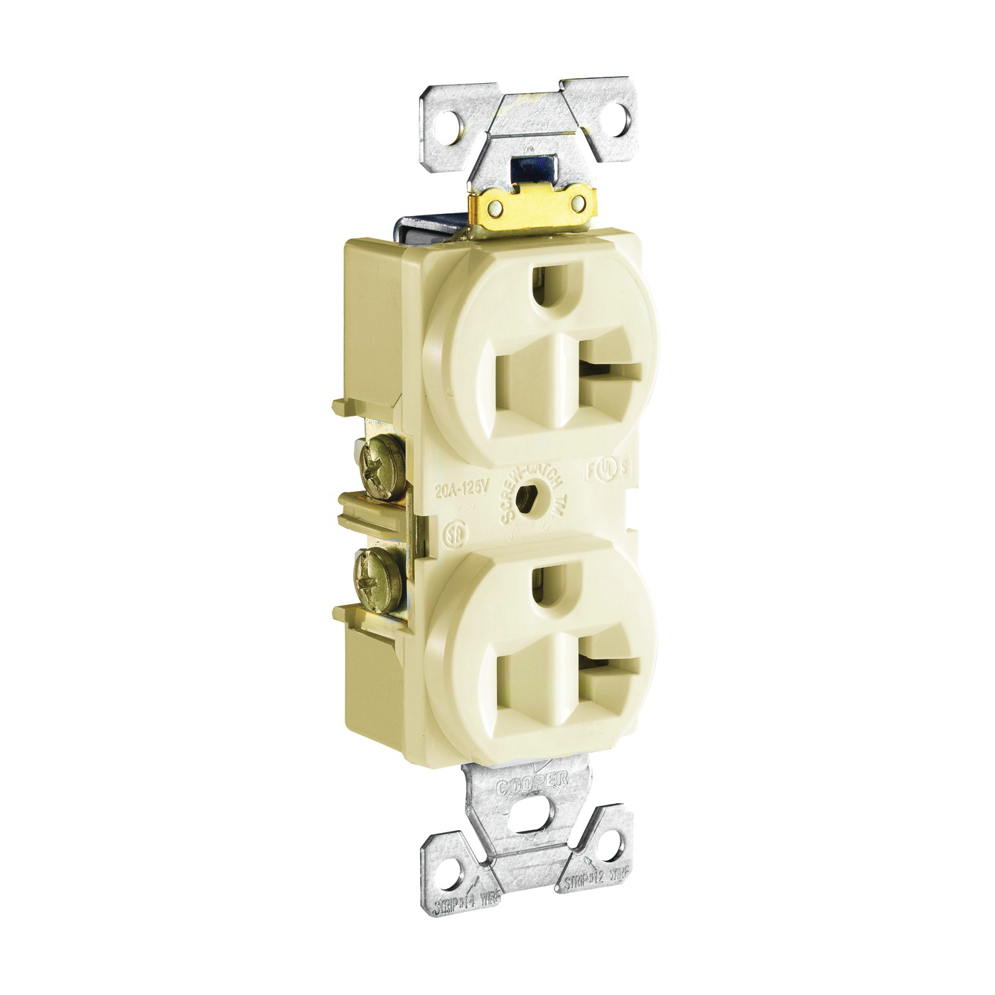 Picture of Eaton Wiring Devices CR20V Duplex Receptacle, 2-Pole, 20 A, 125 V, Side Wiring, NEMA: 5-20R, Ivory