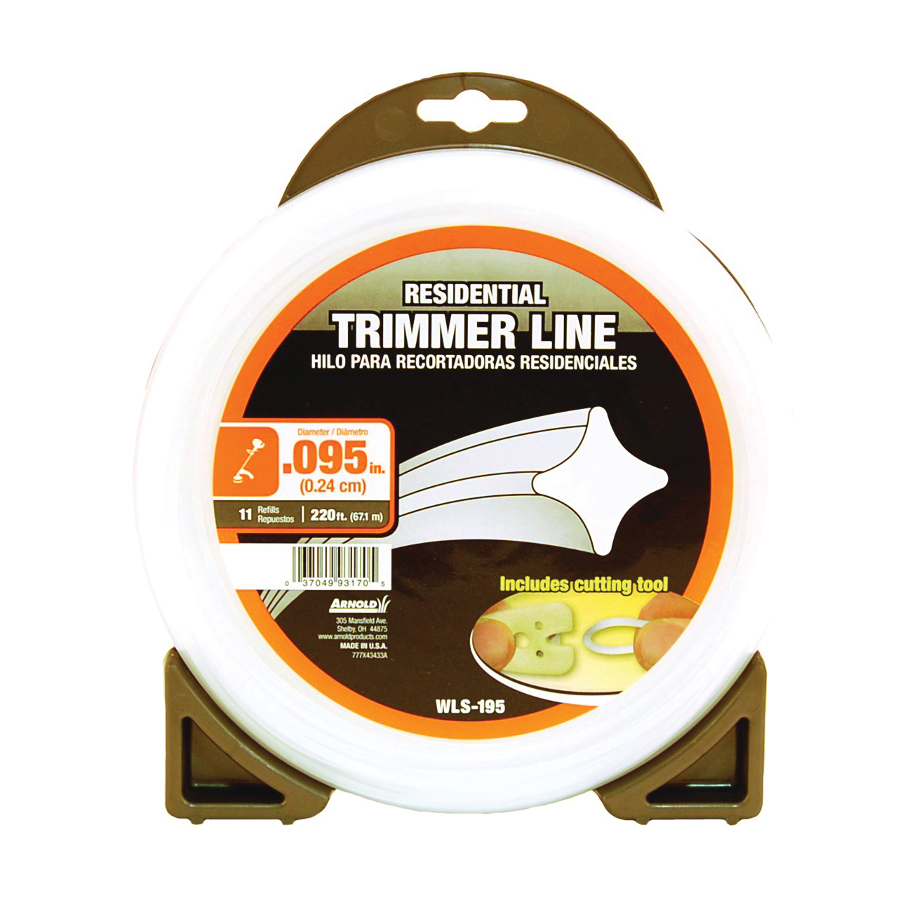 Picture of ARNOLD WLS-195 Trimmer Line, 0.095 in Dia, 220 ft L, Nylon
