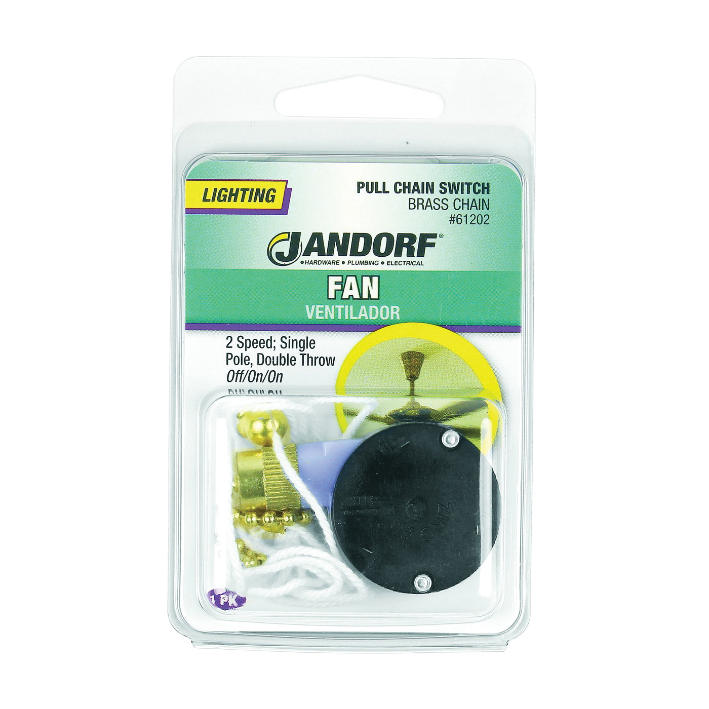 Picture of Jandorf 61202 Pull Chain Switch, 1-Pole, 125 V, 3 A, Brass