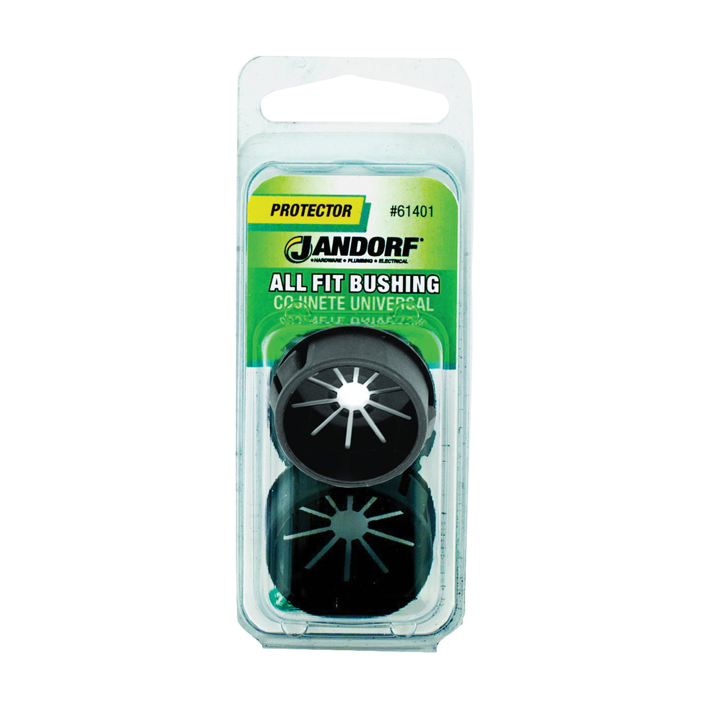 Picture of Jandorf 61401 Conduit Bushing, 13/16 in Dia Cable, Nylon, Black, 1-3/32 in Dia Panel Hole, 0.453 in Thick Panel