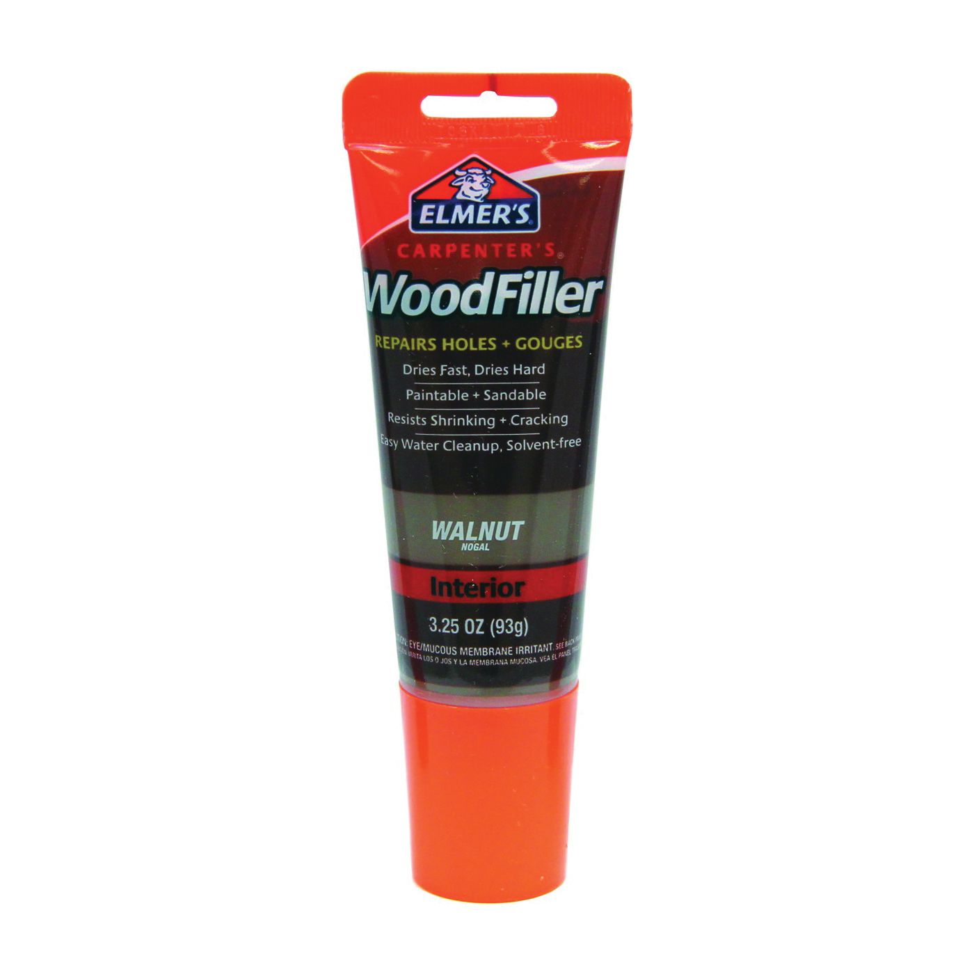 Picture of Elmers E859 Wood Filler, Paste, Mild Acrylic, Walnut, 3.25 oz Package, Tube