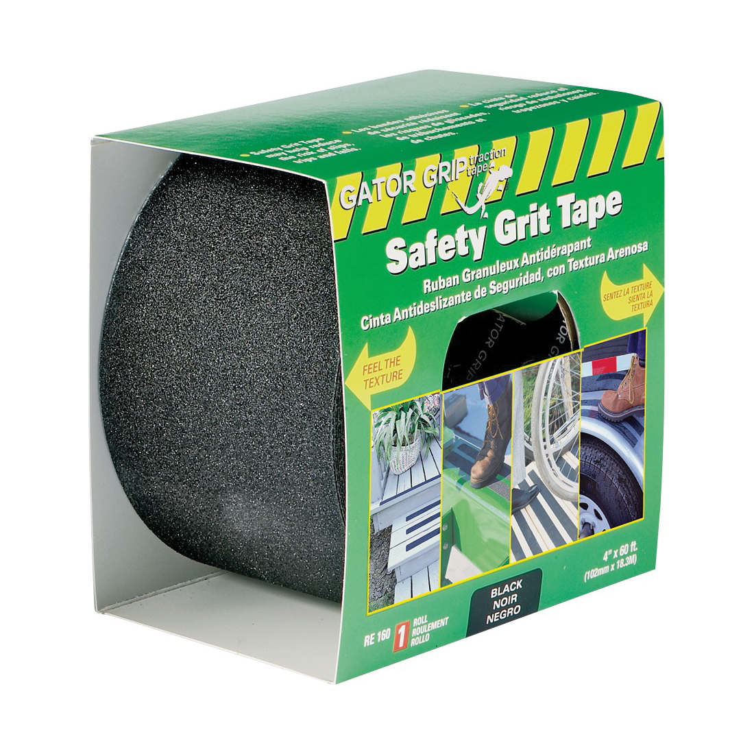 Picture of INCOM Gator Grip RE160 Traction Tape, 60 ft L, 4 in W, PVC Backing, Black