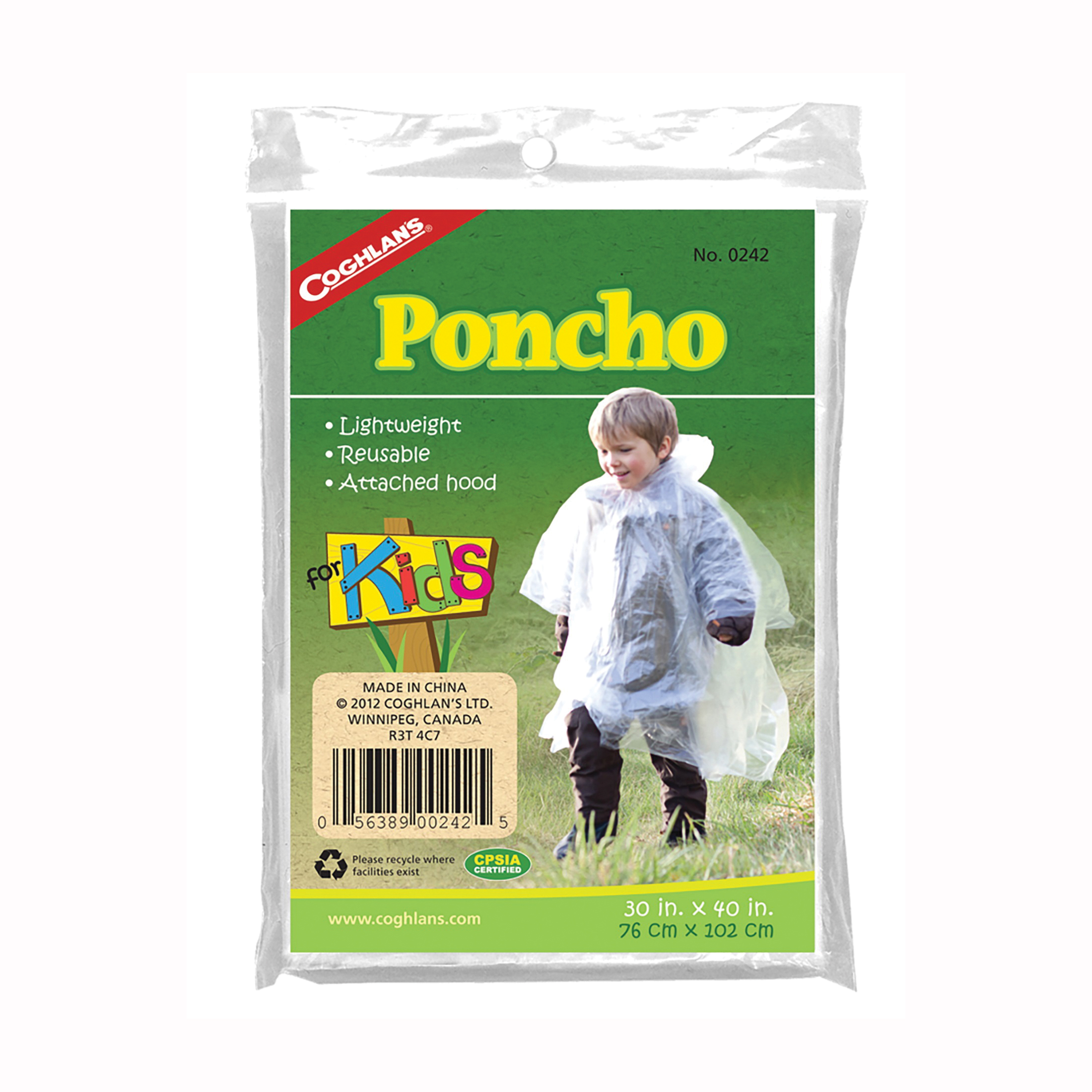 Picture of COGHLAN'S 0242 Kids Poncho, One-Size, Plastic, Clear, Attached Collar