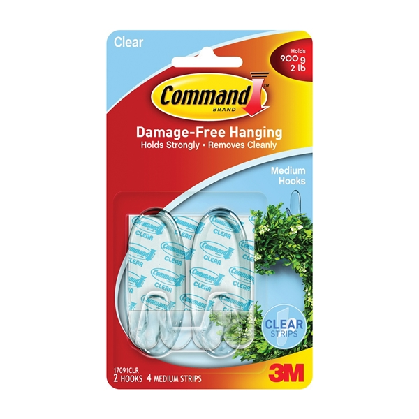 Picture of Command 17091CLR Adhesive Hook, 2 lb, 2-Hook, Plastic, Clear, 6, Pack