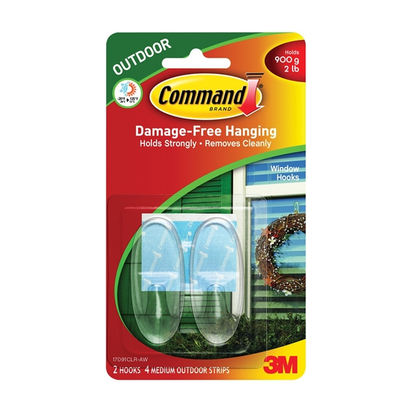 Picture of Command 17091CLR-AW Window Hook, 2 lb, 2-Hook, Plastic, Clear, 6