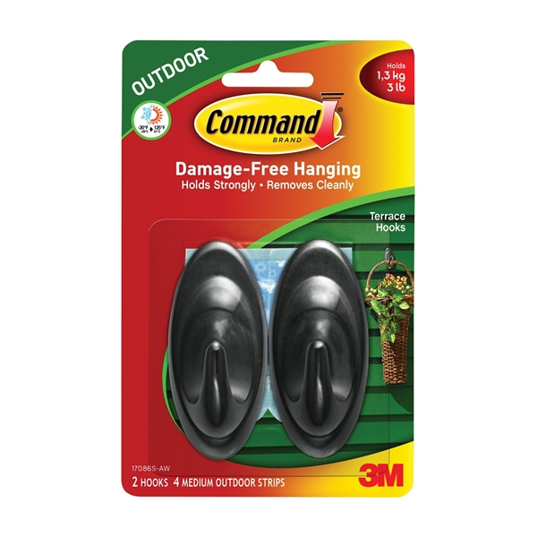 Picture of Command 17086S-AW Terrace Hook, 3 lb, 2-Hook, Plastic, Slate, 6, Pack
