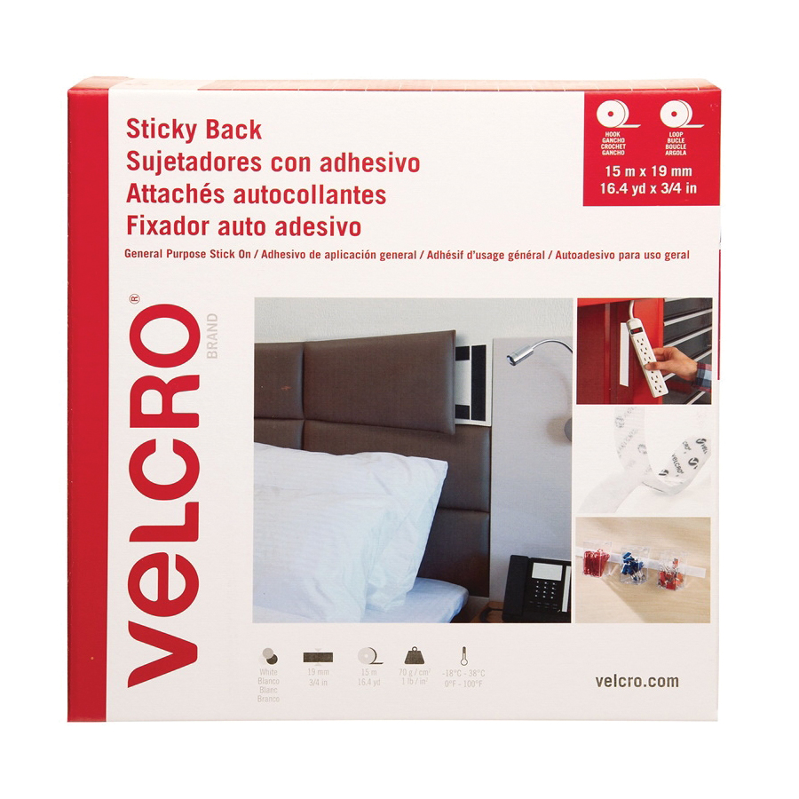 Picture of VELCRO Brand VEL-30633-GLO Sticky Back Tape, 16.4 yd L, 3/4 in W, White