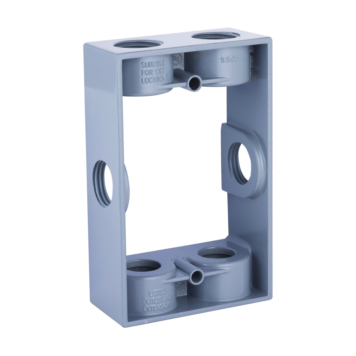 Picture of HUBBELL 5400-0 Extension Adapter, 5-1/4 in L, 3-1/2 in W, 1-Gang, 6-Knockout, Die-Cast Aluminum, Gray