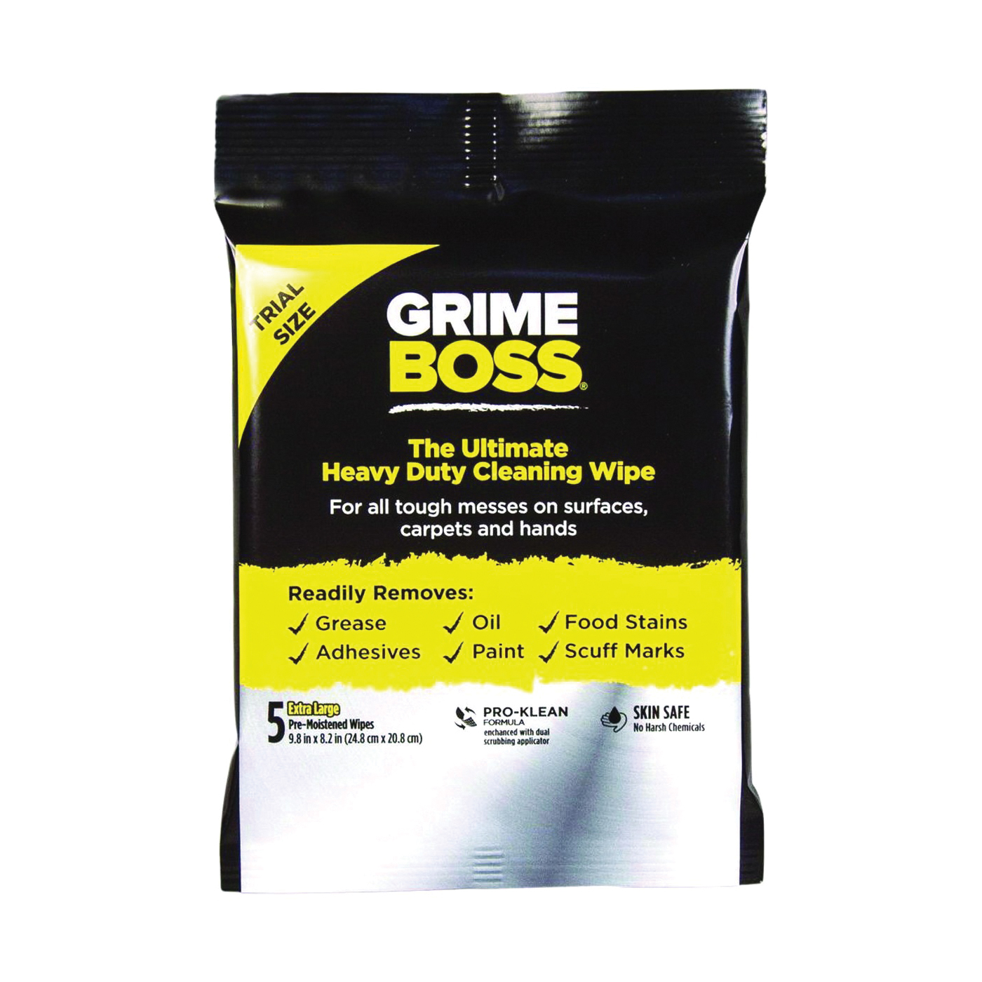 Picture of Grimeboss Q40105 Cleaning Wipes, 9.8 in L, 8.2 in W, Citrus, 5
